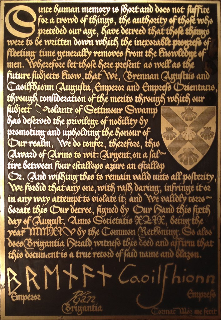 Award of Arms Scroll for Violante of Settmour Swamp